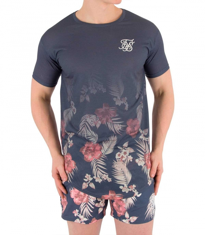 Camiseta SikSilk SS Hazey Daze Fade Curved Hem