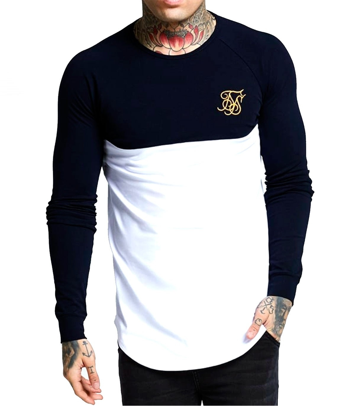 Camiseta Siksilk Long Sleeve Raglan Gym Tee  344e96ce64c7a