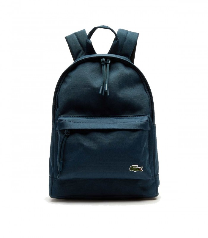 small blue Lacoste Neocroc lona backpack